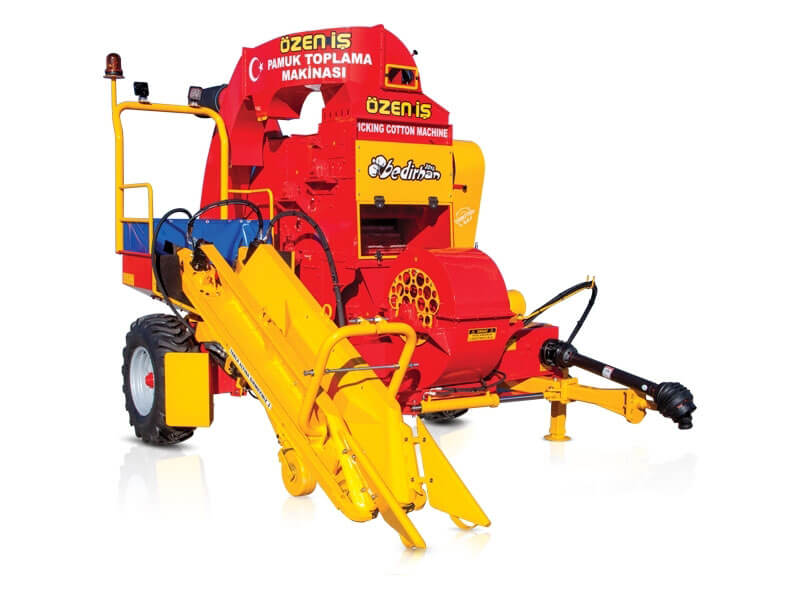 Cotton Harvesting Machine Which Is Pulled By Tractor With Combined Single Row Shifting System